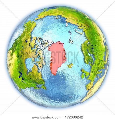 Greenland On Isolated Globe