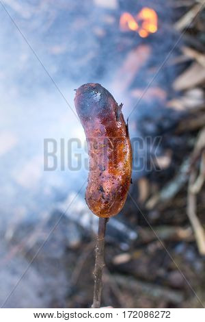 Man Roasting A Sausage Above Embers