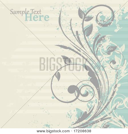 Grunge floral background with copy space, vector illustration