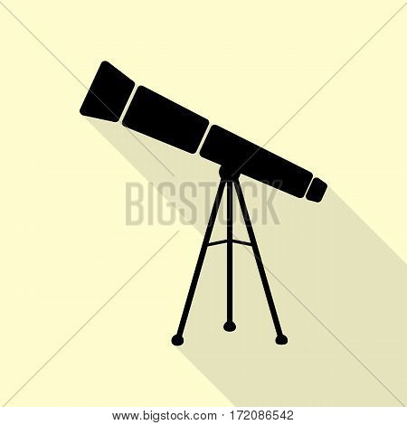 Telescope simple sign. Black icon with flat style shadow path on cream background.