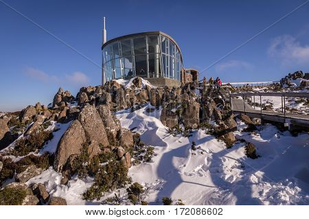 Refuge on top of Mt. Wellington covered in snow near Hobart, Tasmania, Australia in winter