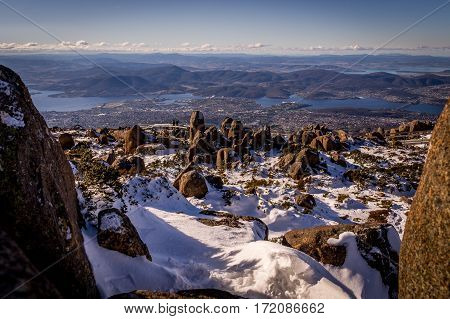 Snow in winter on top of Mt. Wellington with view on Hobart, Tasmania, Australia