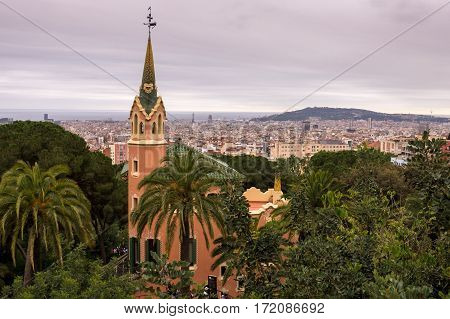 View of Barcelona, Spain with church from Park Guell