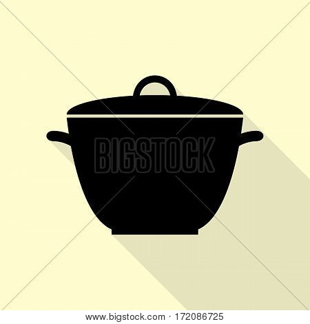 Saucepan simple sign. Black icon with flat style shadow path on cream background.