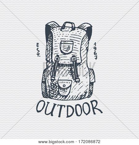 vintage old logo or badge, label engraved and old hand drawn style with backpack , knapsack, bag.