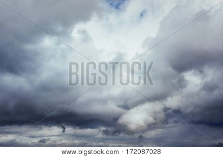 Background of dark clouds before a thunder-storm. Dramatic sky