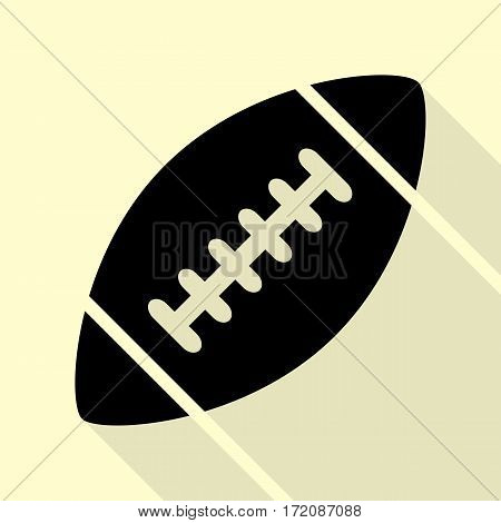 American simple football ball. Black icon with flat style shadow path on cream background.