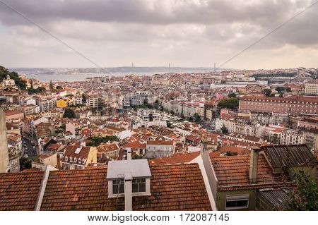 View on Skyline of Lisbon, Portugal with harbour