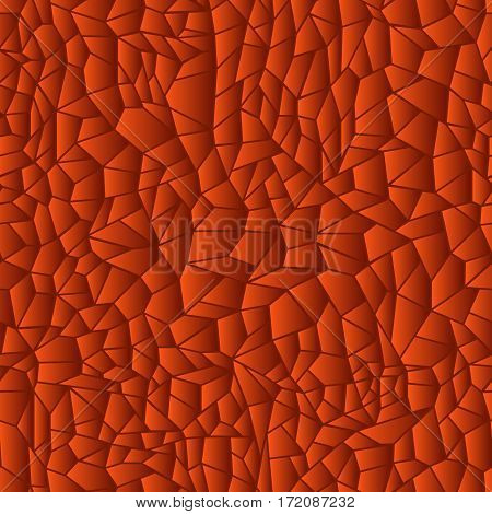 Geometric pattern in orange hues as a stained glass seamless vector illustration