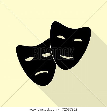 Theater icon with happy and sad masks. Black icon with flat style shadow path on cream background.