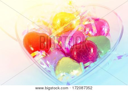 Chocolate heart candies shaped with color filters