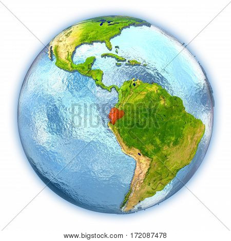 Ecuador On Isolated Globe