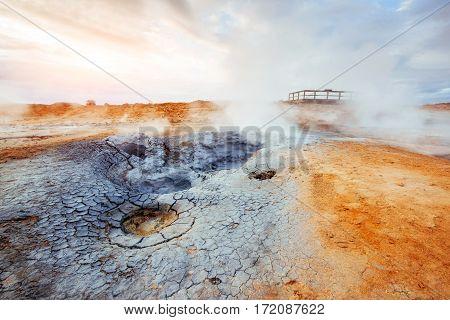 Geothermal area Hverir. Location place Lake Myvatn, Krafla northeastern region of Iceland