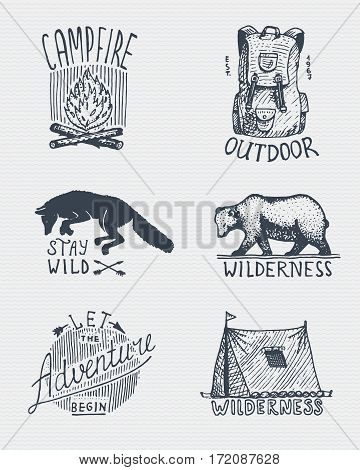 set of engraved vintage, hand drawn, old, labels or badges for camping, hiking, hunting with campfire, backpack and wolf, grizzly bear with tent.