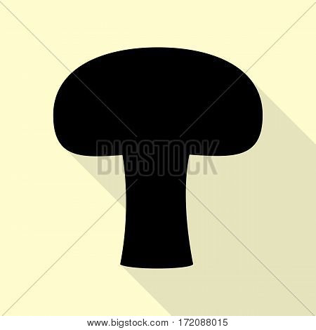 Mushroom simple sign. Black icon with flat style shadow path on cream background.