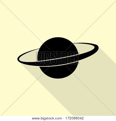 Planet in space sign. Black icon with flat style shadow path on cream background.