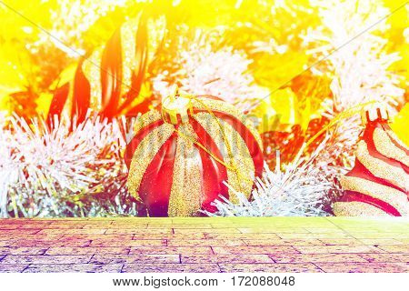 Christmas decoration on abstract background with brick wall