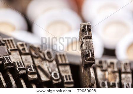Retro writing machine type bars closeup