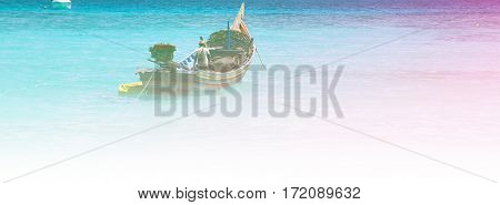fishing boat on the sea with color filters