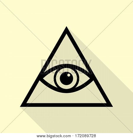 All seeing eye pyramid symbol. Freemason and spiritual. Black icon with flat style shadow path on cream background.