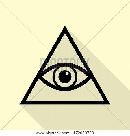 All seeing eye pyramid symbol. Freemason and spiritual. Black icon with flat style shadow path on cream background.
