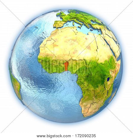 Benin On Isolated Globe
