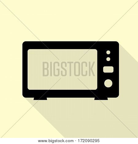 Microwave sign illustration. Black icon with flat style shadow path on cream background.