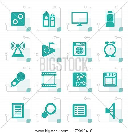 Stylized Mobile phone performance, internet and office icons - vector icon set