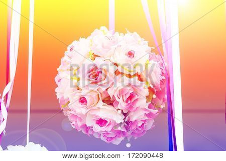 Beautiful bouquet of flowers with color filters