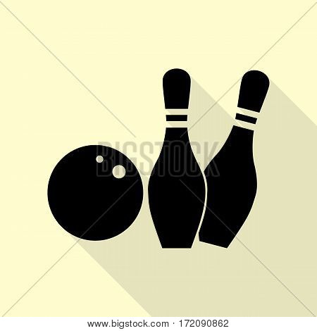 Bowling sign illustration. Black icon with flat style shadow path on cream background.