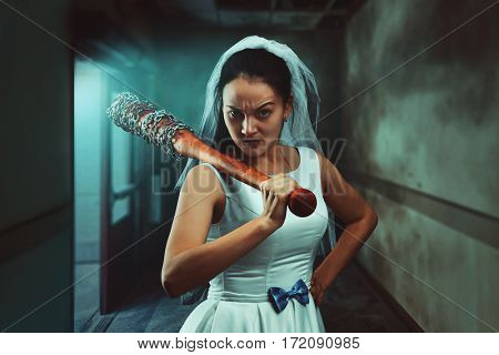 Bride maniac with baseball bat