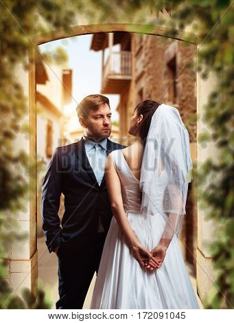 Wedding photo shoot of beautiful newlyweds