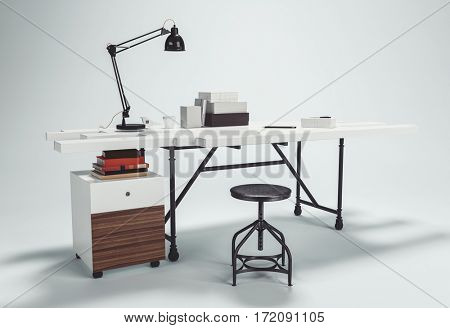 White desk with lamp and round stool on screw lift, on white background with shadow. 3D furniture concept. 3d rendering