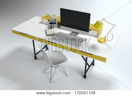 From above view of office workplace white desk with yellow drawers and lamp, computer and chair, isolated on white background. 3d rendering