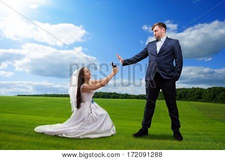 Beautiful bride makes offer to the groom