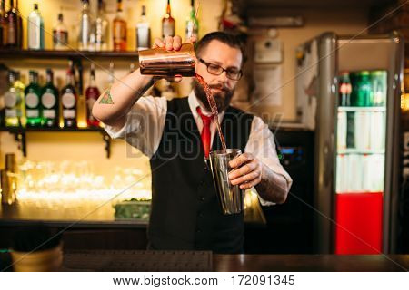 Barkeeper show behind restaurant bar counter