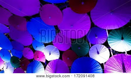 Many colored chinese style umbrella in one background