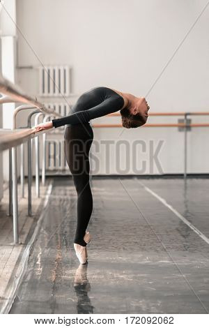 Elegant ballet dancer rehearsal in class