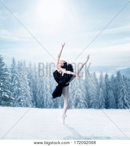Graceful female ballet dancer stretching