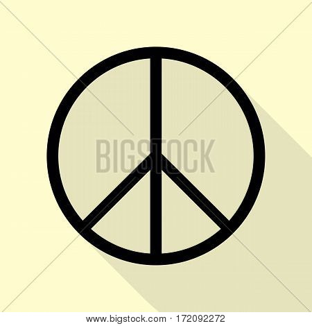 Peace sign illustration. Black icon with flat style shadow path on cream background.