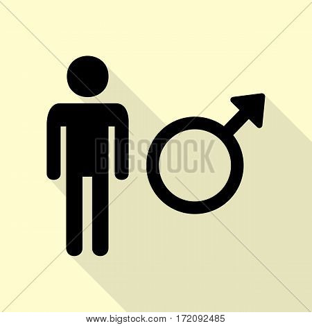 Male sign illustration. Black icon with flat style shadow path on cream background.