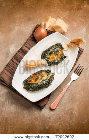 wrapped spinach with parmesan cheese oven cooked