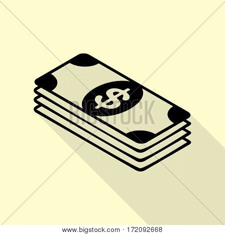 Bank Note dollar sign. Black icon with flat style shadow path on cream background.