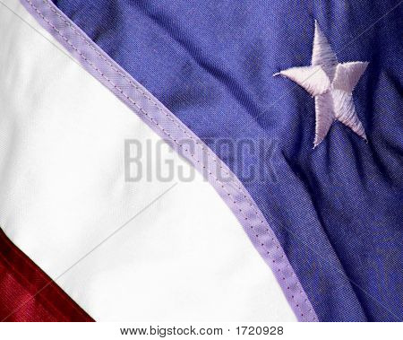 Partial Us Flag With One Star