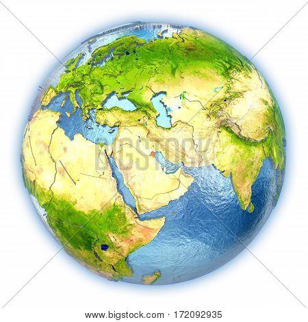 Kuwait On Isolated Globe