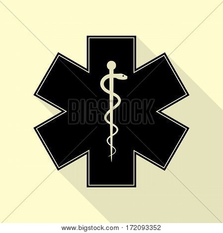 Medical symbol of the Emergency or Star of Life. Black icon with flat style shadow path on cream background.