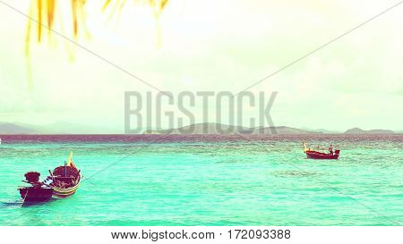 Image of sea view beautiful island,vintage style