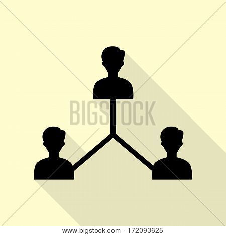 Social media marketing sign. Black icon with flat style shadow path on cream background.
