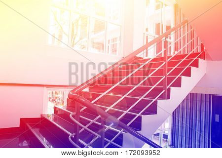 Abstract Interior  wood stairs with color filters