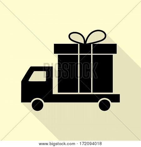 Delivery gift sign. Black icon with flat style shadow path on cream background.